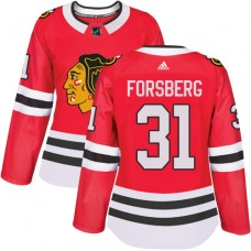 Women's Chicago Blackhawks #31 Anton Forsberg Home Red Authentic Jersey