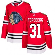 Chicago Blackhawks #31 Anton Forsberg Black Indians-Face Red Authentic Jersey