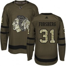 Youth Chicago Blackhawks #31 Anton Forsberg Salute to Service Green Authentic Jersey