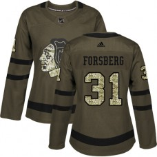 Women's Chicago Blackhawks #31 Anton Forsberg Salute to Service Green Authentic Jersey
