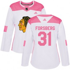 Women's Chicago Blackhawks #31 Anton Forsberg Pink-White Fashion Authentic Jersey