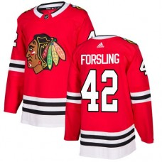 Youth Chicago Blackhawks #42 Gustav Forsling Home Red Authentic Jersey