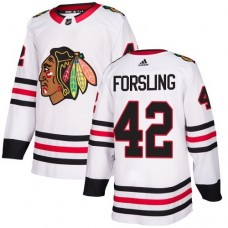 Youth Chicago Blackhawks #42 Gustav Forsling White Away Authentic Jersey