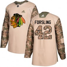 Youth Chicago Blackhawks #42 Gustav Forsling Camo Veterans Day Practice Authentic Jersey