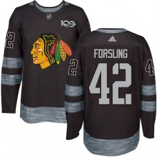 Chicago Blackhawks #42 Gustav Forsling 1917-2017 100th Anniversary Black Authentic Jersey