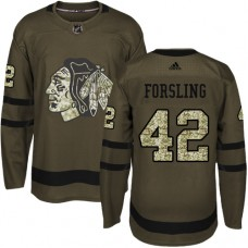 Youth Chicago Blackhawks #42 Gustav Forsling Salute to Service Green Authentic Jersey