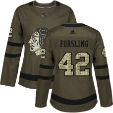 Women's Chicago Blackhawks #42 Gustav Forsling Salute to Service Green Premier Jersey