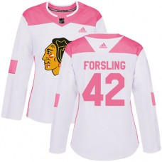 Women's Chicago Blackhawks #42 Gustav Forsling Pink-White Fashion Authentic Jersey