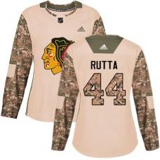 Women's Chicago Blackhawks #44 Jan Rutta Camo Veterans Day Practice Authentic Jersey
