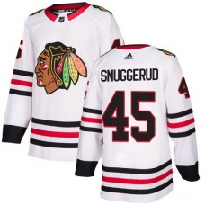 Youth Chicago Blackhawks #45 Luc Snuggerud White Away Authentic Jersey