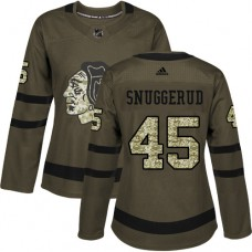 Women's Chicago Blackhawks #45 Luc Snuggerud Salute to Service Green Authentic Jersey