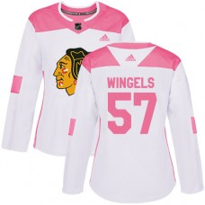 Women's Chicago Blackhawks #57 Tommy Wingels Pink-White Fashion Authentic Jersey