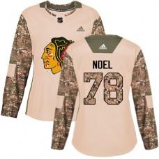 Women's Chicago Blackhawks #78 Nathan Noel Camo Veterans Day Practice Authentic Jersey