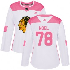 Women's Chicago Blackhawks #78 Nathan Noel Pink-White Fashion Authentic Jersey