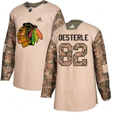 Youth Chicago Blackhawks #82 Jordan Oesterle Camo Veterans Day Practice Authentic Jersey