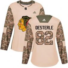 Women's Chicago Blackhawks #82 Jordan Oesterle Camo Veterans Day Practice Authentic Jersey