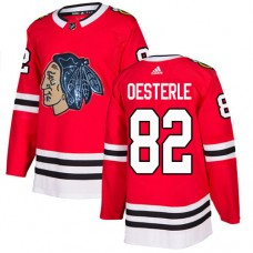 Chicago Blackhawks #82 Jordan Oesterle Black Indians-Face Red Authentic Jersey