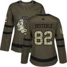 Women's Chicago Blackhawks #82 Jordan Oesterle Salute to Service Green Authentic Jersey