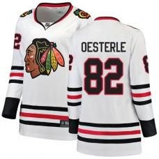 Women's Chicago Blackhawks #82 Jordan Oesterle Away Fanatics Branded Breakaway White Authentic Jersey