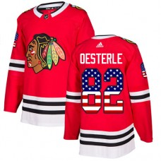 Youth Chicago Blackhawks #82 Jordan Oesterle USA Flag Fashion Red Authentic Jersey