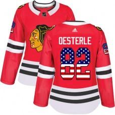 Women's Chicago Blackhawks #82 Jordan Oesterle USA Flag Fashion Red Authentic Jersey