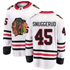 Youth Chicago Blackhawks #45 Luc Snuggerud White Away Fanatics Branded Breakaway Authentic Jersey