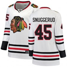Women's Chicago Blackhawks #45 Luc Snuggerud Away Fanatics Branded Breakaway White Authentic Jersey