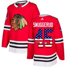 Youth Chicago Blackhawks #45 Luc Snuggerud USA Flag Fashion Red Authentic Jersey