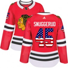 Women's Chicago Blackhawks #45 Luc Snuggerud USA Flag Fashion Red Authentic Jersey
