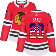 Women's Chicago Blackhawks #20 Brandon Saad USA Flag Fashion Red Authentic Jersey