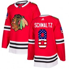 Youth Chicago Blackhawks #8 Nick Schmaltz USA Flag Fashion Red Authentic Jersey