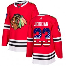Youth Chicago Blackhawks #23 Michael Jordan USA Flag Fashion Red Authentic Jersey