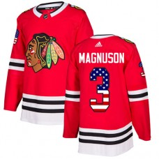Youth Chicago Blackhawks #3 Keith Magnuson USA Flag Fashion Red Authentic Jersey