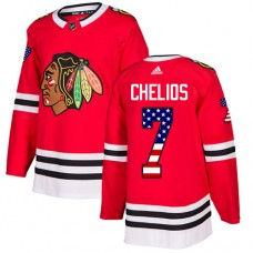 Youth Chicago Blackhawks #7 Chris Chelios USA Flag Fashion Red Authentic Jersey