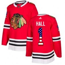 Youth Chicago Blackhawks #1 Glenn Hall USA Flag Fashion Red Authentic Jersey