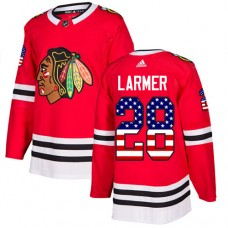 Youth Chicago Blackhawks #28 Steve Larmer USA Flag Fashion Red Authentic Jersey