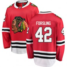 Youth Chicago Blackhawks #42 Gustav Forsling Red Home Fanatics Branded Breakaway Authentic Jersey