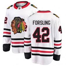 Youth Chicago Blackhawks #42 Gustav Forsling White Away Fanatics Branded Breakaway Authentic Jersey
