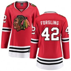 Women's Chicago Blackhawks #42 Gustav Forsling Red Home Fanatics Branded Breakaway Premier Jersey