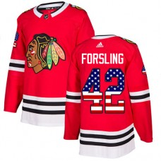 Youth Chicago Blackhawks #42 Gustav Forsling USA Flag Fashion Red Authentic Jersey