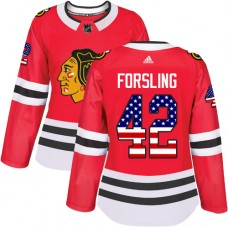 Women's Chicago Blackhawks #42 Gustav Forsling USA Flag Fashion Red Authentic Jersey