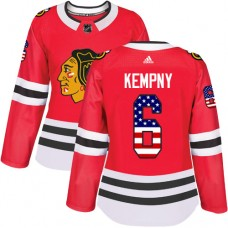 Women's Chicago Blackhawks #6 Michal Kempny USA Flag Fashion Red Authentic Jersey