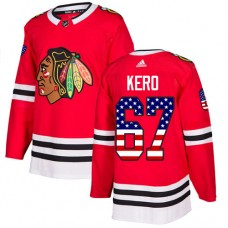 Youth Chicago Blackhawks #67 Tanner Kero USA Flag Fashion Red Authentic Jersey