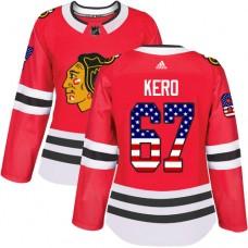 Women's Chicago Blackhawks #67 Tanner Kero USA Flag Fashion Red Authentic Jersey