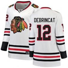 Women's Chicago Blackhawks #12 Alex DeBrincat Away Fanatics Branded Breakaway White Authentic Jersey