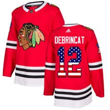 Youth Chicago Blackhawks #12 Alex DeBrincat USA Flag Fashion Red Authentic Jersey