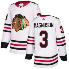 Chicago Blackhawks #3 Keith Magnuson Away White Authentic Jersey