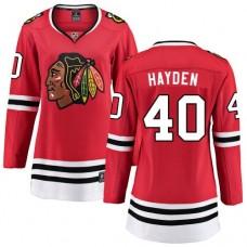 Women's Chicago Blackhawks #40 John Hayden Red Home Fanatics Branded Breakaway Authentic Jersey
