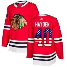 Chicago Blackhawks #40 John Hayden USA Flag Fashion Red Authentic Jersey