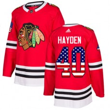Youth Chicago Blackhawks #40 John Hayden USA Flag Fashion Red Authentic Jersey
